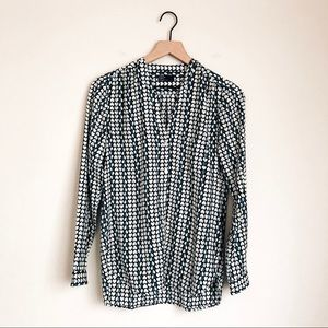 GAP • heart patterned button up blouse